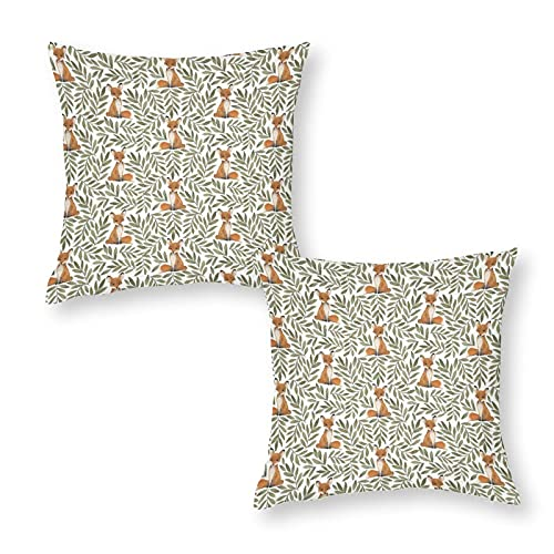 Soft Cushion Cover Throw Pillow Case Decorative Small Fox And Leaves Square Sofa Pillowcase for Home Xmas Decor Favor 18 x 18 inch / 45 x 45 cm with Invisible Zipper Set of 2