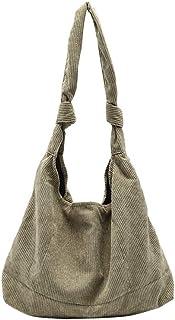 Ulisty Damen Groß Cord Tasche Mode Stofftasche Schultasche Beiläufig Schultertasche Handtasche Grün