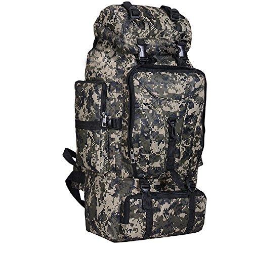 Greenpromise 70 l Herren wasserdichter, taktischer Rucksack für Camping Reise Militär Armee Outdoor Sport Camouflage Wanderrucksäcke, Dark black