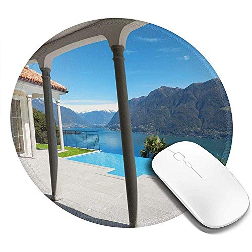 Ronde muismat, uitzicht op het meer van Maggiore vanaf het terras balkon van huis met zwembad, anti-slip Gaming Mouse Mat