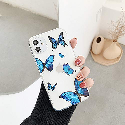LUSAMYE iPhone 11 Case Clear Cute Butterfly Design Flexible Bumper TPU Soft Rubber Silicone Girl Cover for iPhone 11-Small Butterfly