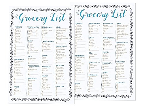 Magnetic Grocery List Pad for Fridge (100 Sheets, 9.25 x 6.25 In, 2 Pack)