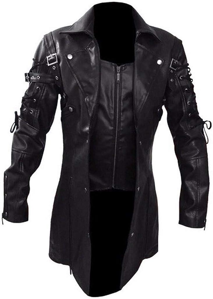 Landscap Steampunk Gothic Men Faux Leather Jacket Vintage Biker Motorcycle Zipper Long Sleeve Coat Jacket, M-5XL