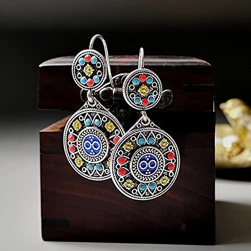 allforyou Turquesa Bohemia Pendientes de Piedra Coloridos para Mujeres Nupciales Joyería Gitana Doble Ronda de Flor Pendientes étnicos