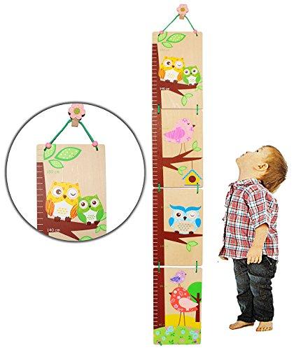 alles-meine.de GmbH 3-D Meßlatte - aus Holz -  lustige Eule  - zum Klappen / Falten - von 80 cm bis 155 cm - Kinderzimmer - für Kinder Kind - Eulen & Blumen - Holzmeßlatte - Ti..