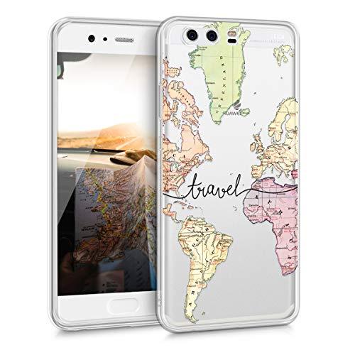 kwmobile Funda Compatible con Huawei P10 - Carcasa de TPU y Mapa Mundial en Negro/Multicolor/Transparente
