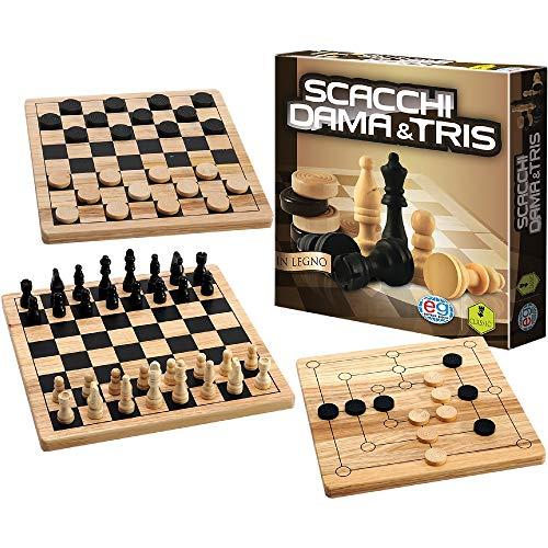 Editrice Giochi- Giochi Classici-Dama, Scacchi & Tris in Legno, Multicolore, 6037172