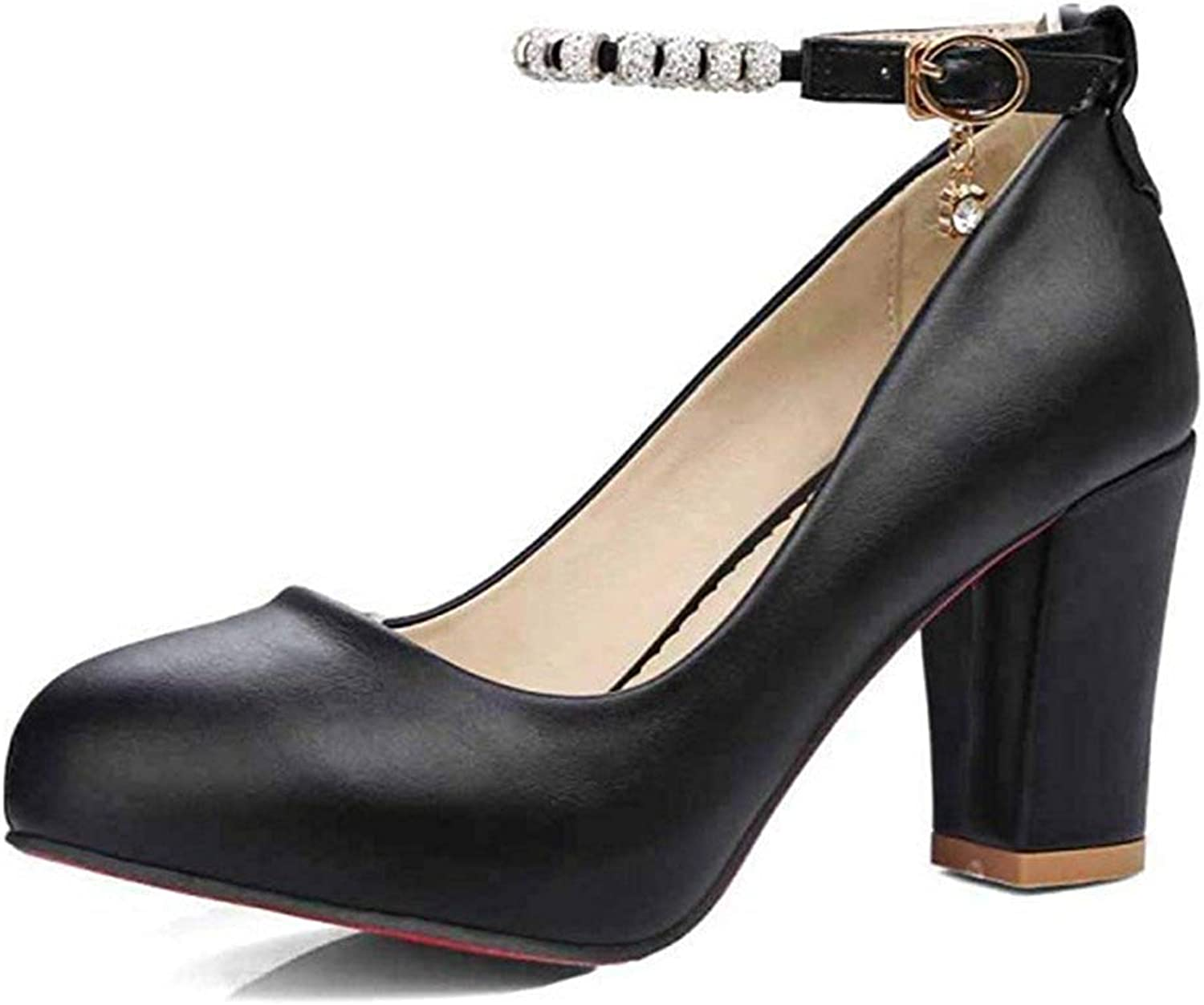 Unm Women's Elegant High Chunky Heel Buckled Dressy Low Cut Round Toe Ankle Strap Pumps shoes