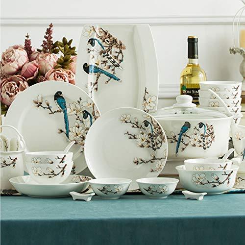 ASYCAN 60 Piezas Juego de vajillas Europeos de vajilla de China, vajilla de cerámica de Jingdezhen Chino, tazones, Placas y Palillos de China Europeos, Platos y Palillos para 8-10
