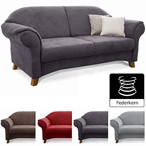 Cavadore 2-Sitzer Sofa Maifayr mit Federkern / Moderne 2-sitzige Couch im Landhausstil mit Holzfüßen / 164 x 90 x 90 / grau