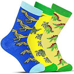 5. Luther Pike Seattle Fun & Silly Novelty Dinosaur Socks (3 Pairs)
