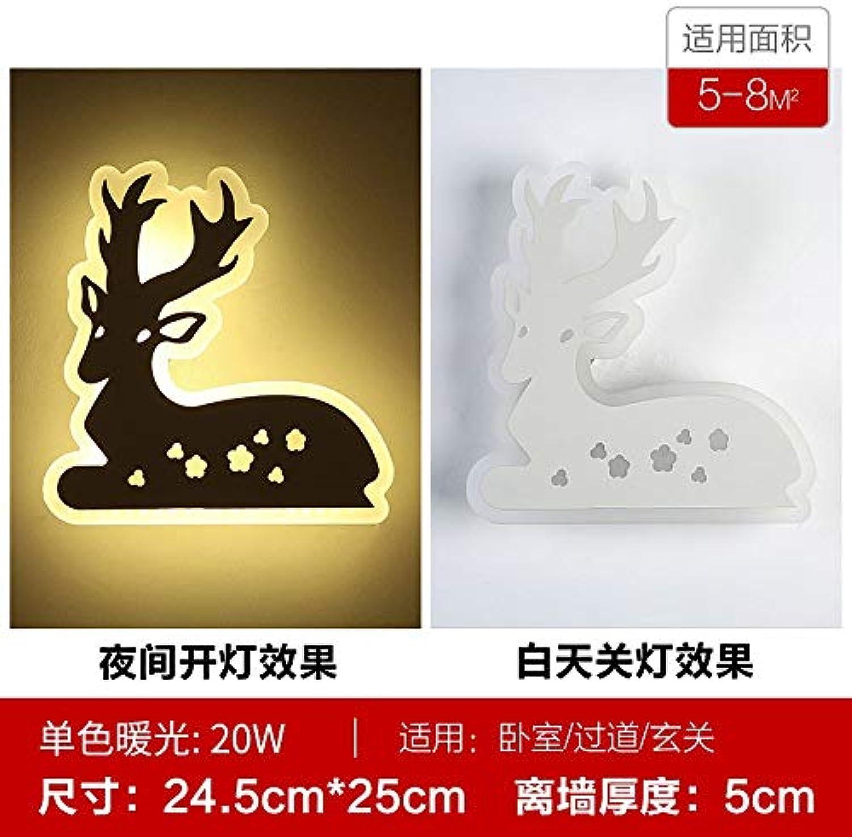 Xinxin24 Wandleuchte Moderner Minimalistischer Led Nachttischlampe Kinderzimmer Schlafzimmer Wohnzimmer Wandleuchte, Stil 4, Gelbes Licht 24.5  25  5Cm, 20W