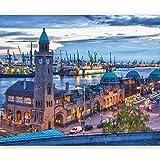 murando Fototapete Stadt 250x193 cm Vlies Tapeten Wandtapete XXL Moderne Wanddeko Design Wand Dekoration Wohnzimmer Schlafzimmer Büro Flur Hamburg Hafen Fluss Uhr 100404-154