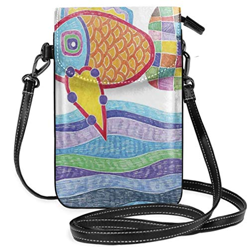 Women Small Cell Phone Purse Crossbody,Doodle Marker Pattern With Fish Scales And Squares On Wavy Ocean Colorful Illustration