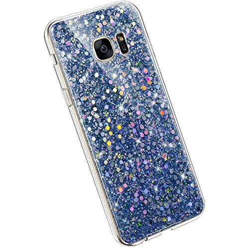 Ysimee Glitzer Hülle kompatibel mit Samsung Galaxy S7, Dünne Handyhülle Galaxy S7 Glitzer, Bling TPU Hülle Case Etui Kratzfest Anti-Fall Stoßdämpfend Schutzhülle TPU Silikon BackCover, Blau