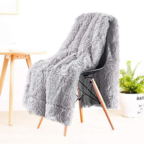 LOCHAS Super Soft Shagge Kunstfell Decke Plüsch Plüsch Bettwurf Dekorative Kuschelige Flauschige Decken für Couch Chair Sofa, 127X152cm, Grau