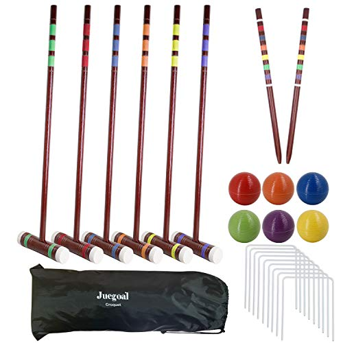 Juegoal Six Player Deluxe Croquet Set with Wooden Mallets, Colored Balls, Brown Vintage Style, Sturdy Bag for Adults &Kids, Perfect for Lawn, Backyard and Park, 28 Inch