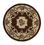 Think Rugs Marrakesh - Alfombra de diseño floral tradicional hecha a máquina, 100% polipropileno, 140 cm, círculo (marrón)