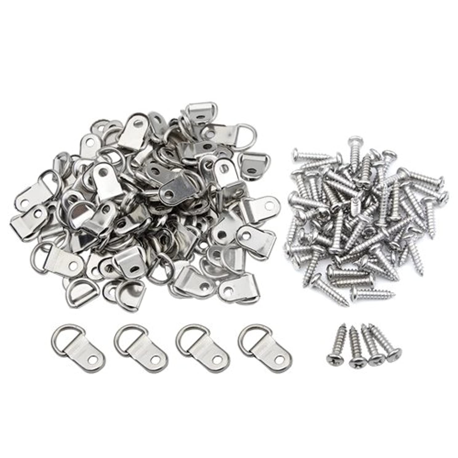 TOVOT 100 PCS D Ring Picture Hangers Double Hole with 304 Stainless Steel Phillips Screw