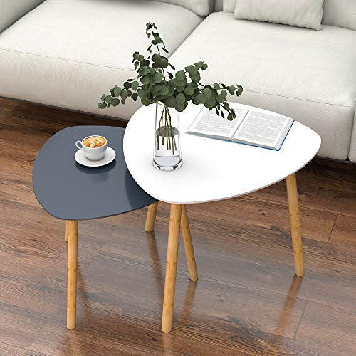 Nesting Table Set of 2, Bamboo End Table for Living Room Side Table for Bedroom Triangle Modern Coffee Table (White & Gray)