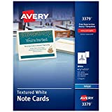 Avery Printable Note Cards, Inkjet Printers, 50 Cards and Envelopes, 4.25 x 5.5, Heavyweight, Textured (3379), White
