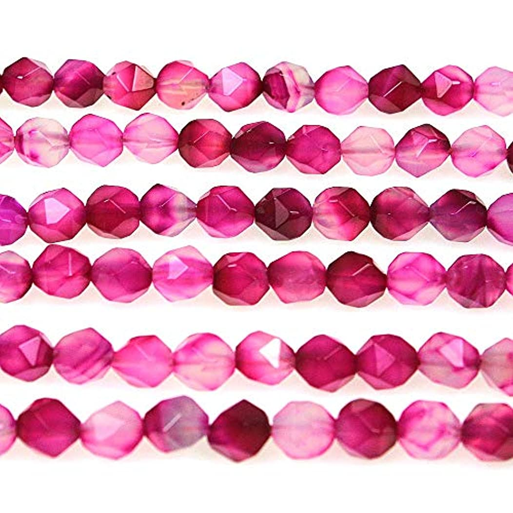 MJDCB Best Sellers Natural Stone Beads Faceted Polygon Rose Red Agate Crystal Energy Stone Healing Power for Jewelry Making(8mm)