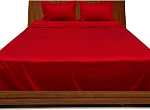 Relaxare Full XL 300TC 100% Egyptian Cotton Blood Red Solid 4PCs Sheet Set Solid (Pocket Size: 12 inches)