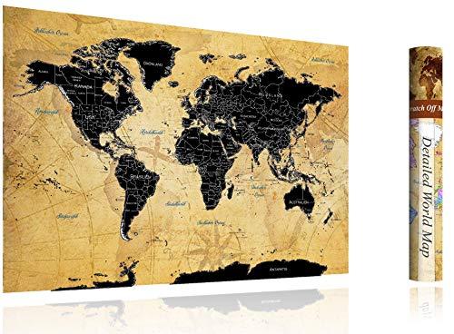 FlyHigh XXL Weltkarte Poster zum Rubbeln in Deutscher Sprache (82x60 cm) inklusive Klebesticker, Kratzwerkzeug & Mikrofasertuch (Schwarz)