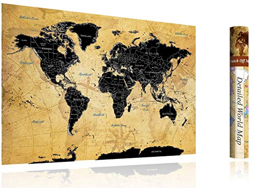 FlyHigh XXL Weltkarte Poster zum Rubbeln in Deutscher Sprache (82x60 cm) inklusive Klebesticker, Kratzwerkzeug und Mikrofasertuch (Schwarz)