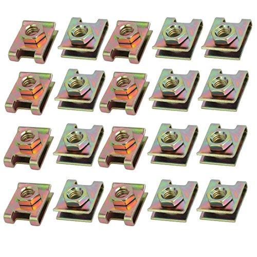 sourcingmap 20pz a molla in acciaio velocità U di fissaggio dado in ottone Clip Tono per vite M6