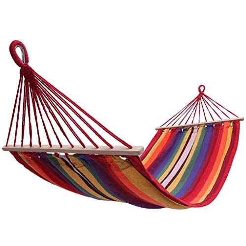 Hammock OutdoorSwing, Wooden Stick, To Prevent Rollover, Both Ends Reinforced Wear-resistant Outdoor Indoor Hanging Chair 200 * 100cm Dark Red Stripes Hammock