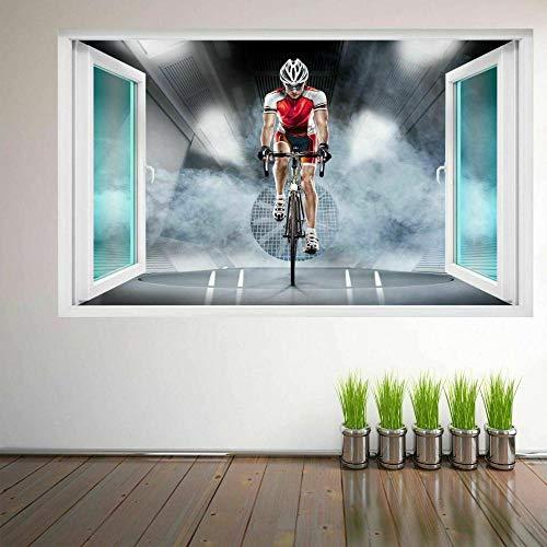 LIUWW Adesivo murale 3D ciclismo sportivo ciclista Adesivo murale Decorazioni per bambini