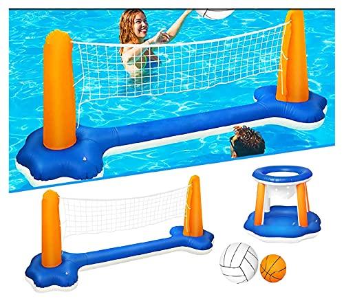 Aufblasbares Wasserballspiel Volleyballnetz & Wasserspiel Floating Hoops Basketballkorb , Aufblasbare Pool Volleyball Spieleset Wassersport Spielzeug mit Netz und 2 Bällen für Erwachsene Kinder