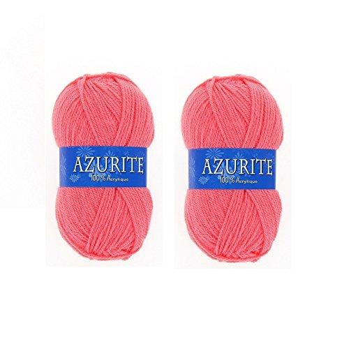 les colis noirs lcn Lot 2 Pelotes de Laine Azurite 100% Acrylique Tricot Crochet Tricoter - Corail - 3015