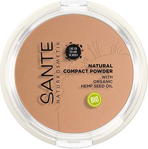 SANTE Naturkosmetik Natural Compact Powder 03 Warm Honey, ideal für dunklere Hauttöne, mattiert und fixiert langanhaltend, für einen natürlichen Glow, mit Bio-Hanfsamenöl, Vegan, 9g