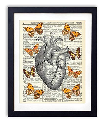 Anatomical Heart With Yellow Butterflies Upcycled Vintage Dictionary Art Print 8x10