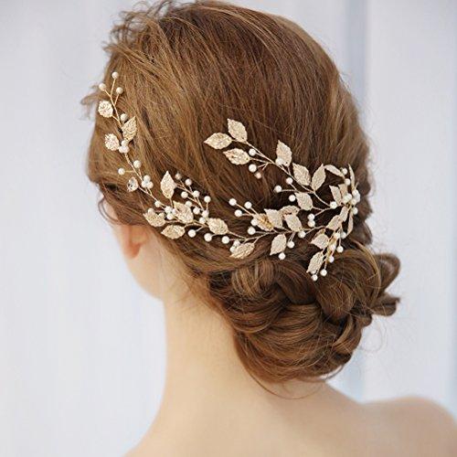 frcolor Strass cristal perla hojas boda novia frente Tiara Diadema pieza (Oro)