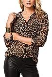 Mujeres Tops De Gasa Estampado De Leopardo Blusa Casual De Primavera Otoño Leopardprint XXL