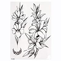 MIYU ローズ牡丹の花の女の子の一時的な入れ墨のために女性の防水黒のタトゥーステッカー3DブロッサムレディーショルダーManual (Color : TH390)
