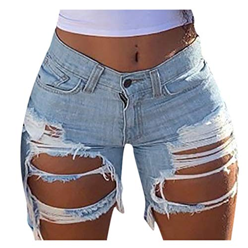 GDJGTA Women Jeans Shorts Pants Overalls Pants Stretch-Free Slim Hole Distressed Casual Fit Hot Pants Light Blue