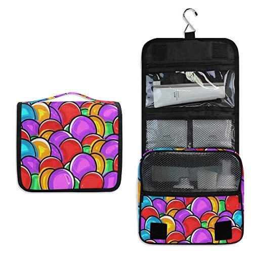 Kulturbeutel zum Aufhängen, buntes Ostereier-Muster, Kosmetiktasche für Frauen und Mädchen, multifunktional, Reise-Make-up-Tasche, Kulturbeutel, Aufbewahrungstasche
