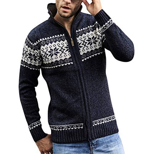 Beautyfine Men's Fashion Knitted Cardigan Sweater Pure Color Blouse Coat Dark Blue