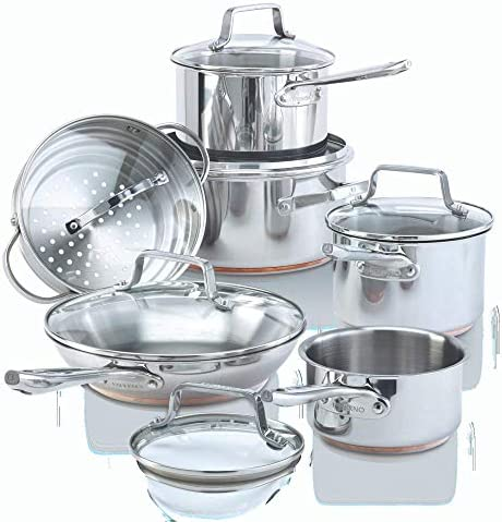 Paderno 12 Piece Stainless Steel Copper Core Cookware Set Kitchen Pots and Pans Set with Covered product image