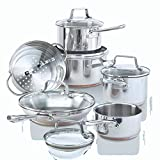 Paderno 12-Piece Stainless-Steel Copper Core Cookware Set | Kitchen Pots and Pans Set with Covered...