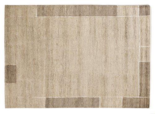 SOPRANO BORDER echter original handgeknüpfter Nepal Teppich in marmor, Größe: 90x160 cm