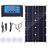 UOYOTT Portable 20W Solar Panel Kit 12V/24V, 20 Watts Solar Battery Charger Maintainer with 50A Charge Controller for Car, Marine,...