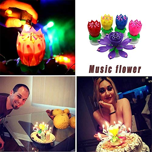 Rotating Lotus Birthday Candle Flower Musical,Birthday Cạndlê,Musical Birthday Cạndlê Rotating Lotus Cạndlê,Birthday Cake Cạndlê Decorations-Blue