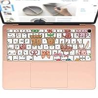 igsticker MacBook Air 13inch 2018 専用 キーボード用スキンシール キートップ ステッカー A1932 Apple マックブック エア ノートパソコン アクセサリー 保護 009423 動物 猫 鳥 リボン