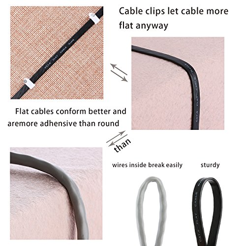 Cat 6 Ethernet Cable 25 ft Flat, Durable Internet Network Lan Patch Cord, Sturdy Cat6 High Speed Computer RJ45 Wire for Router, Modem, PS Xbox, Gaming, Switch, TV, Video- Faster Than Cat5e/Cat5, Black