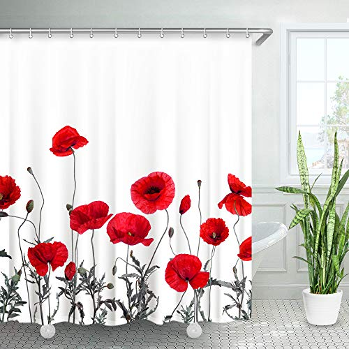 """LIVILAN Poppy Floral Shower Curtain Red Flowers Fabric Bathroom Curtain Home Decoration Set with Hooks Decorative Machine Washable (72""""X84"""")"""